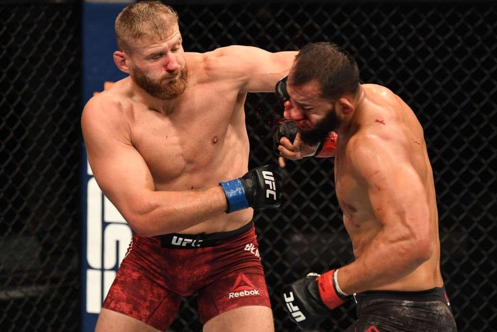 Jan Blachowicz of Poland punches Dominick Reyes in their light heavyweight championship bout during UFC 253
