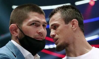 UFC Lightweight Champion Khabib Nurmagomedov (L) and Usman Nurmagomedov at Abdulmanap Nurmagomedov Memory Tournament