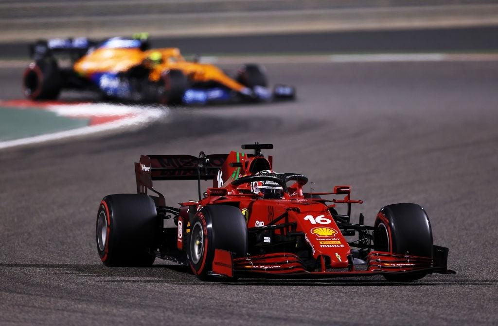 Charles Leclerc of Monaco driving the (16) Scuderia Ferrari SF21 on track during the F1 Grand Prix of Bahrain at Bahrain International Circuit on March 28, 2021 in Bahrain, Bahrain. (Photo by Lars Baron/Getty Images)