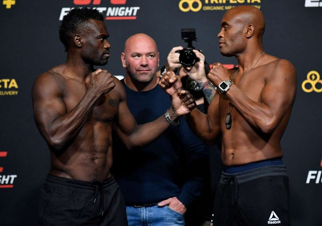 Uriah Hall of Jamaica and Anderson Silva of Brazil face off during the UFC Fight Night weigh-in at UFC APEX