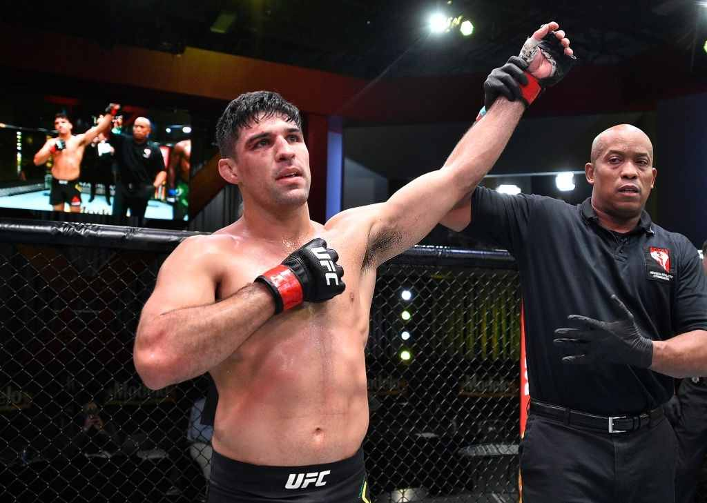 Vicente Luque celebrates after his TKO victory over Randy Brown in their welterweight fight during the UFC Fight Night event at UFC APEX