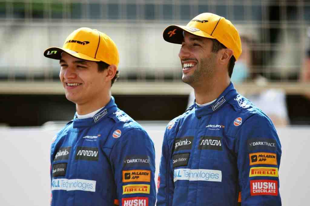 Lando Norris of McLaren F1 motivates his teammate Daniel Ricciardo after the Aussie's poor performance at Imola.