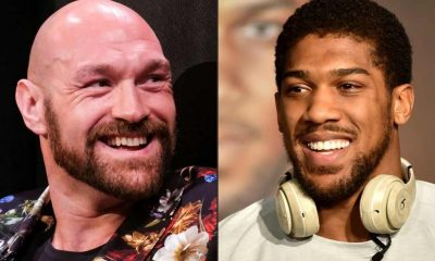 This combination of pictures created on December 14, 2020 shows Boxer Tyson Fury (L) during a press conference in Los Angeles, California on January 25, 2020, and British heavyweight boxer Anthony Joshua during a press conference in Ad Diriyah