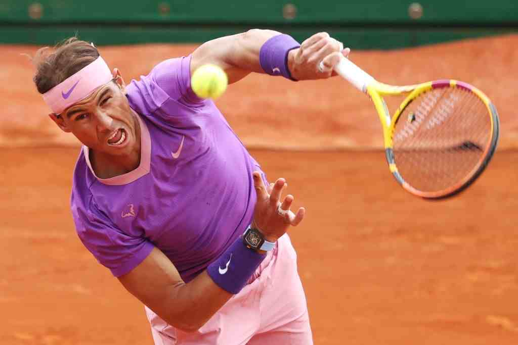 Rafael Nadal of Spain in action during his quarterfinal match against Grigor Dimitrov of Bulgaria during day five of the Rolex Monte-Carlo Masters on April 18, 2021. (Photo by Alexander Hassenstein/Getty Images)