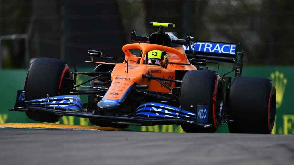 Lando Norris of McLaren F1 finished P13 and P8 at the FP1 and FP2, respectively of the Emilia Romagna Grand Prix in Imola on Friday, April 16, 2021.