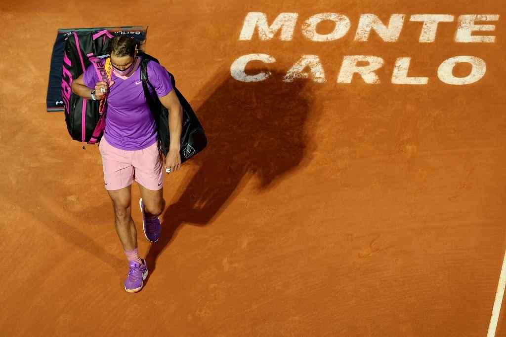 Rafael Nadal of Spain leaves the court after loosing his match against Andrey Rublev of Russia during day six of the Rolex Monte-Carlo Masters at Monte-Carlo Country Club on April 16, 2021 in Monte-Carlo, Monaco.