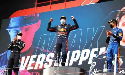 Race winner Max Verstappen of Red Bull Racing celebrates on the podium during the F1 Grand Prix of Emilia Romagna at Autodromo Enzo e Dino Ferrari on April 18, 2021 in Imola, Italy.