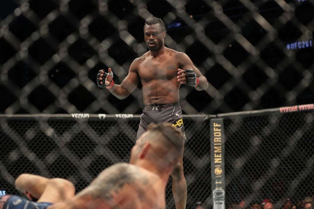 Uriah Hall of Jamaica reacts after Chris Weidman of the United States suffered a broken leg on a kick attempt during UFC 261 at VyStar Veterans Memorial Arena on April 24, 2021 in Jacksonville, Florida.