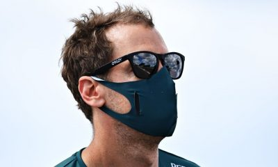 Sebastian Vettel of Aston Martin F1 made a wrong pit stop at McLaren F1's pit box during the Friday session of the Portuguese Grand Prix on April 30, 2021.