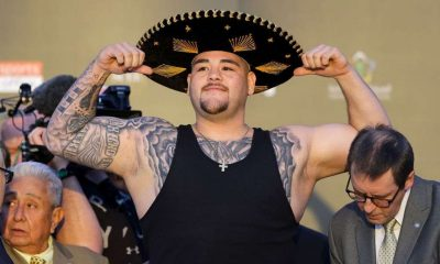 : Andy Ruiz Jr poses for photos as he weighs in ahead of the IBF, WBA, WBO & IBO World Heavyweight Title Fight