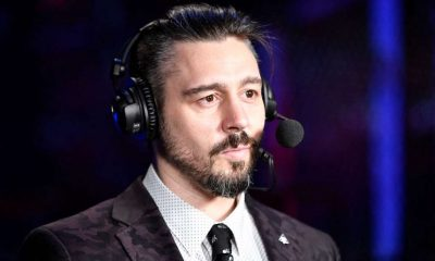 UFC fighter Dan Hardy provides analysis for the broadcast during the UFC Fight Night event inside Flash Forum