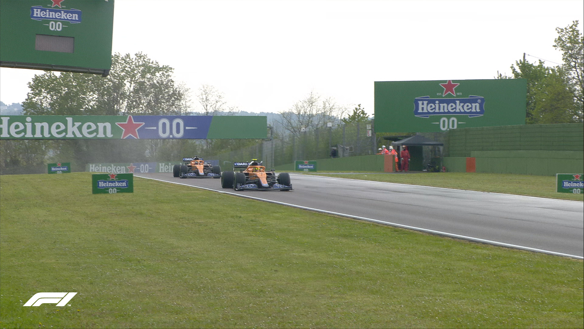 Lando Norris takes the lead from his McLaren F1 teammate Daniel Ricciardo at the Emilia Romagna Grand Prix at the Autodrome Enzo e Dino Ferrari, Imola on Sunday, April 18, 2021.