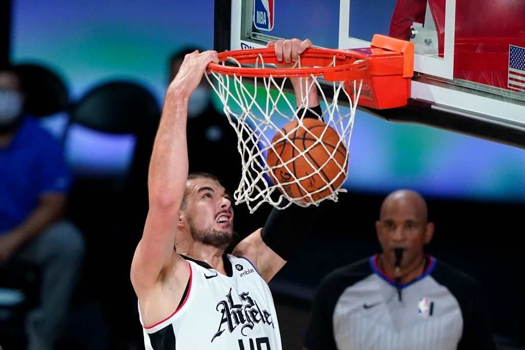 Los Angeles Clippers' Ivica Zubac #40 dunks the ball against the Dallas Mavericks during the first half of an NBA basketball first round playoff game