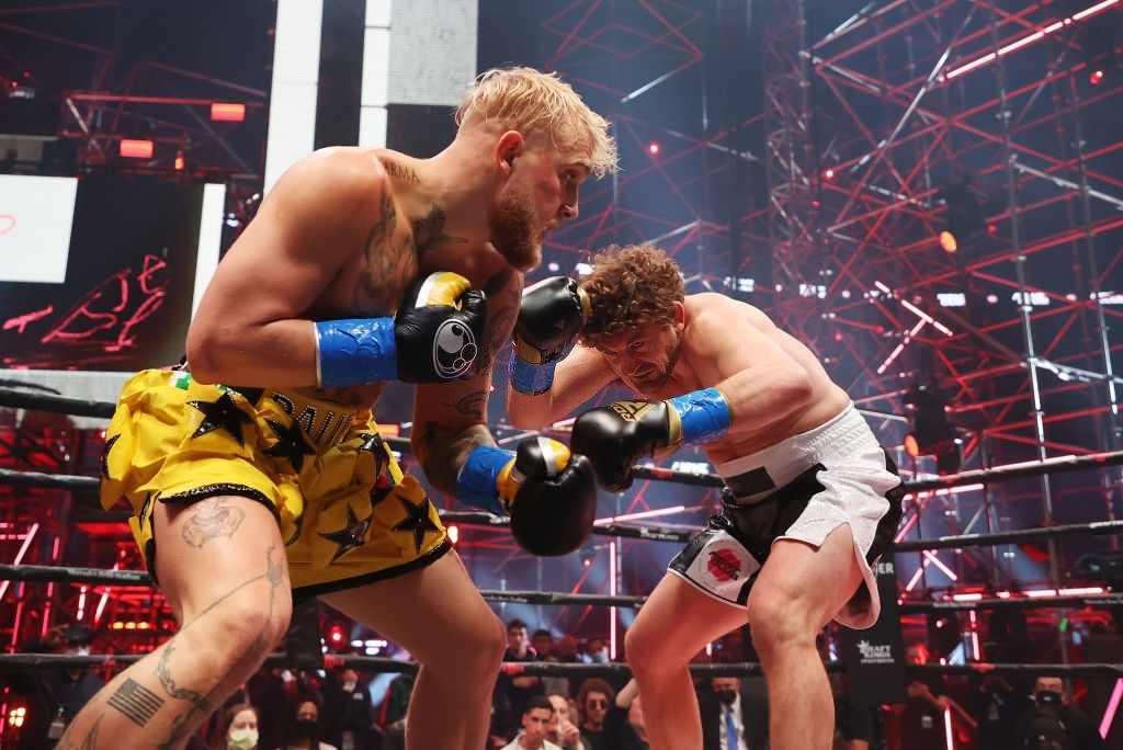Jake Paul fights Ben Askren in their cruiserweight bout during Triller Fight Club at Mercedes-Benz Stadium