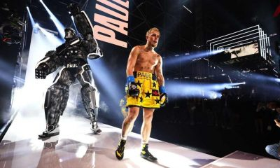 Jake Paul enters the ring against Ben Askren in their cruiserweight bout