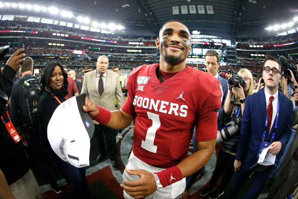 Jalen Hurts #1 of the Oklahoma Sooners celebrates the team's win over the Baylor Bears following the Big 12 Football Championship at AT&T Stadium on December 7, 2019 in Arlington, Texas.