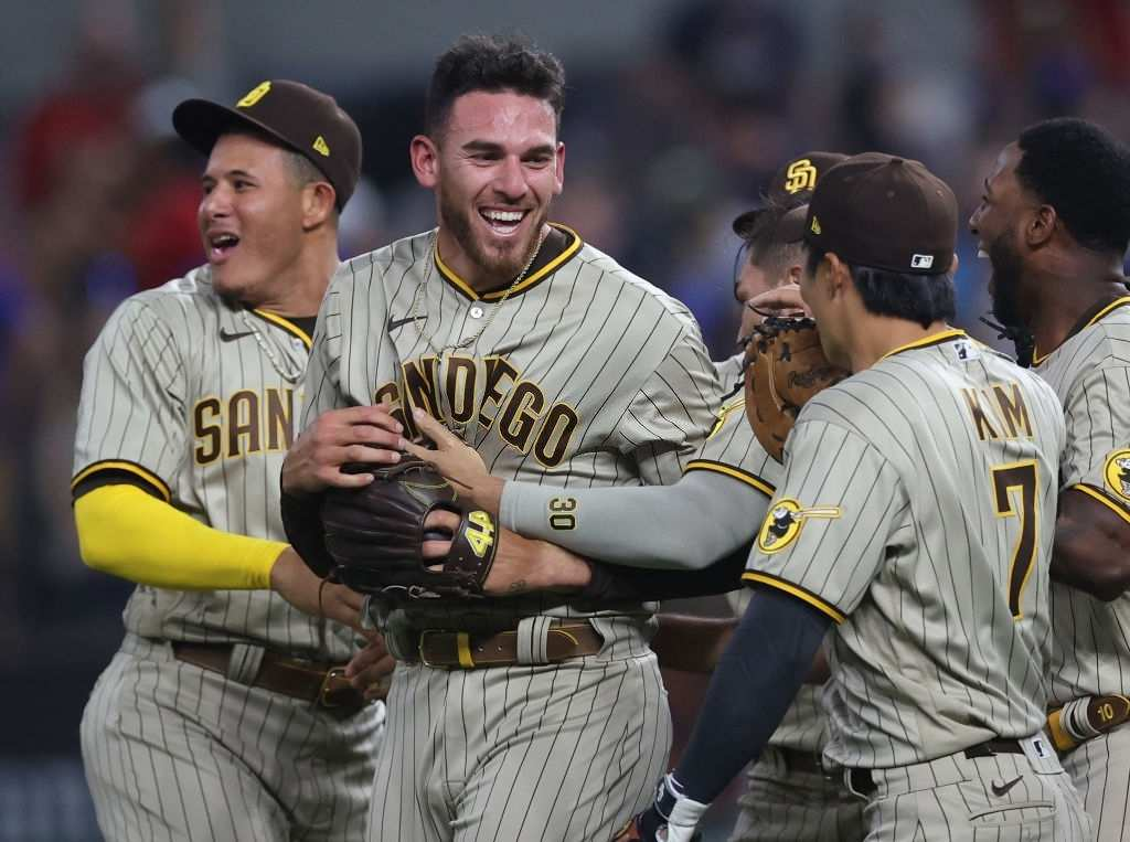 Joe Musgrove #44 of the San Diego Padres celebrates with his team after pitching a no-hitter against the Texas Rangers