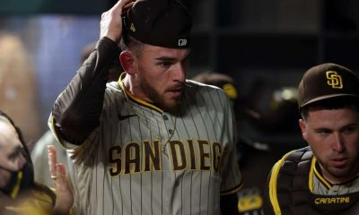 Joe Musgrove #44 of the San Diego Padres after pitching a no-hitter against the Texas Rangers
