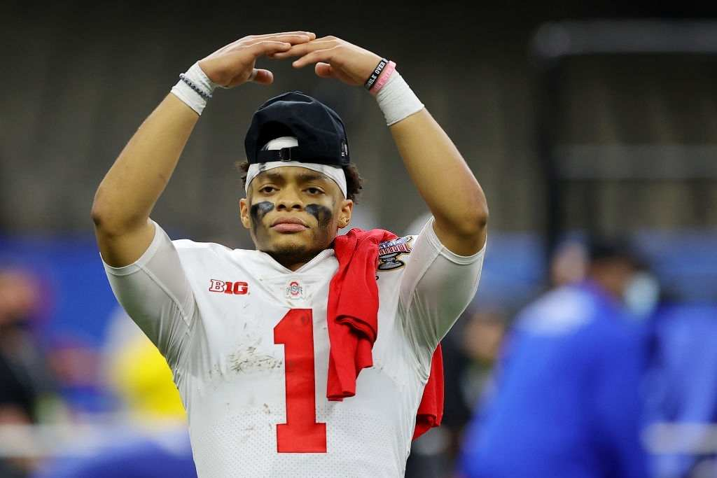 Justin Fields #1 of the Ohio State Buckeyes reacts after defeating the Clemson Tigers