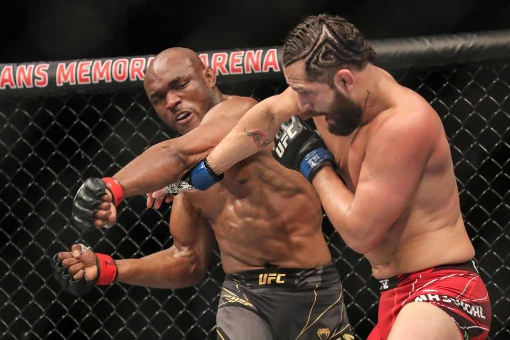 Kamaru Usman (L) of Nigeria fights Jorge Masvidal of the United States