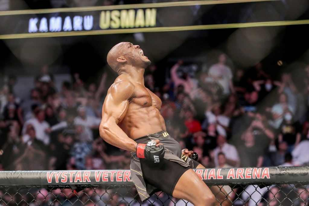 Kamaru Usman of Nigeria celebrates his victory over Jorge Masvidal