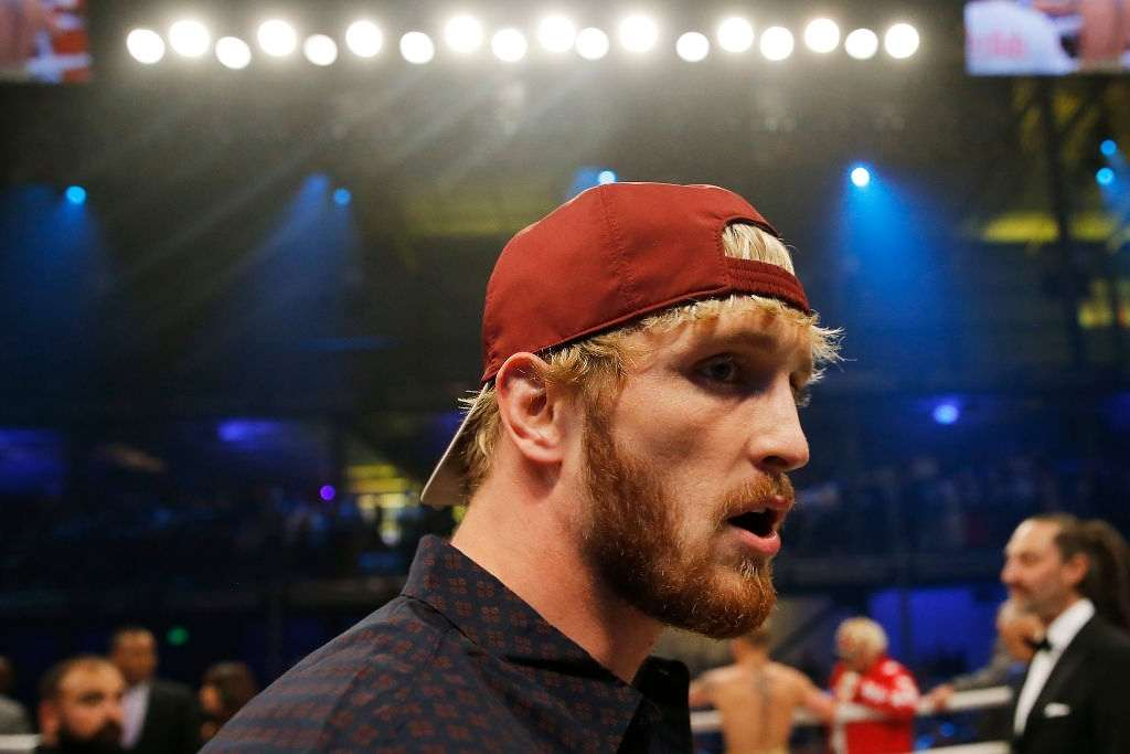Logan Paul looks on after his brother, Jake Paul, defeated AnEsonGib in a first round knockout during their fight