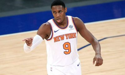 RJ Barrett #9 of the New York Knicks reacts after scoring during the second half against the Charlotte Hornets