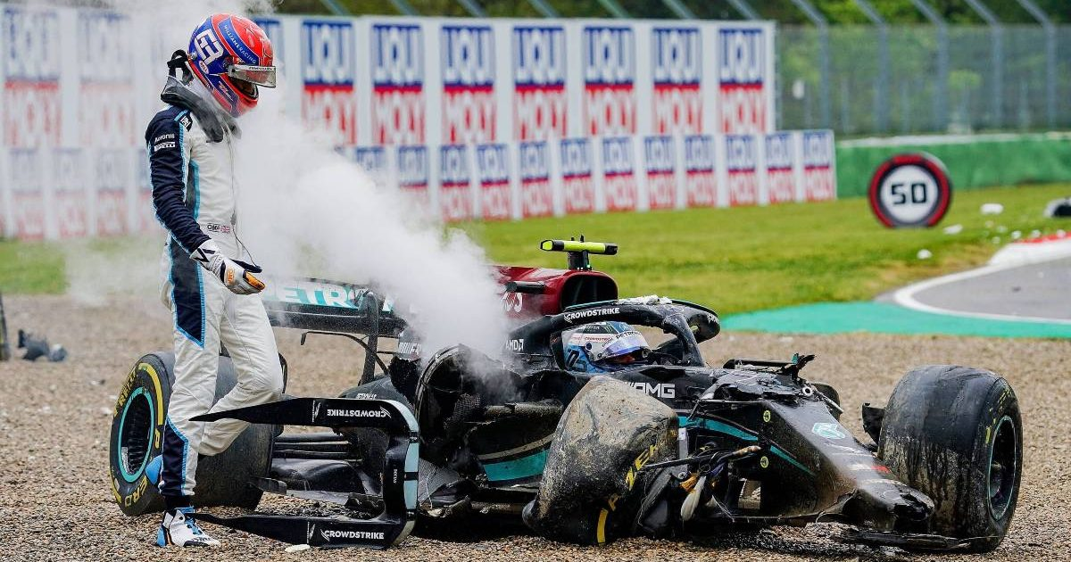 Russell's Williams collided with Bottas's Mercedes as the Frenchmen tried to overtake from a critical angle