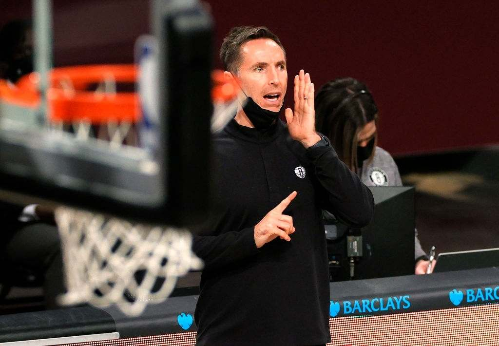 Head coach Steve Nash of the Brooklyn Nets directs his team during the second half against the Charlotte Hornets at Barclays Center