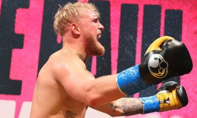 Jake Paul celebrates after defeating Ben Askren in their cruiserweight bout during Triller Fight Club