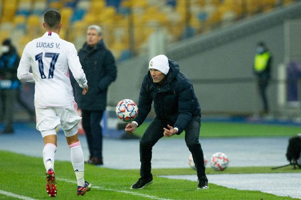 Head coach Zinedine Zidane of Real Madrid and Lucas Vazquez of Real Madrid (Photo by Stanislav Vedmid/DeFodi Images via Getty Images)Head coach Zinedine Zidane of Real Madrid and Lucas Vazquez of Real Madrid (Photo by Stanislav Vedmid/DeFodi Images via Getty Images)