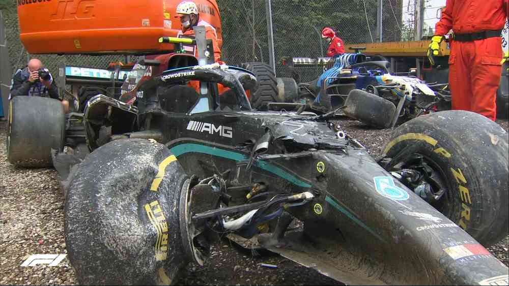 Valtteri Bottas of Mercedes had a massive accident with Williams's George Russell at the Emilia Romagna Grand Prix on April 18, 2021.