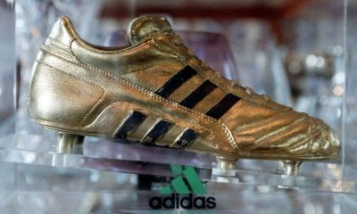 The Aiddas Golden Boot on display