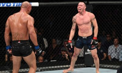 Colby Covington taunts Robbie Lawler in their welterweight bout