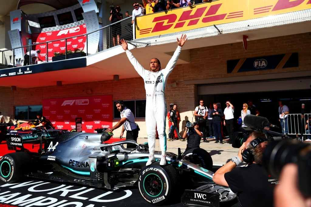 Lewis Hamilton, the world championship driver celebrates another one of his victory
