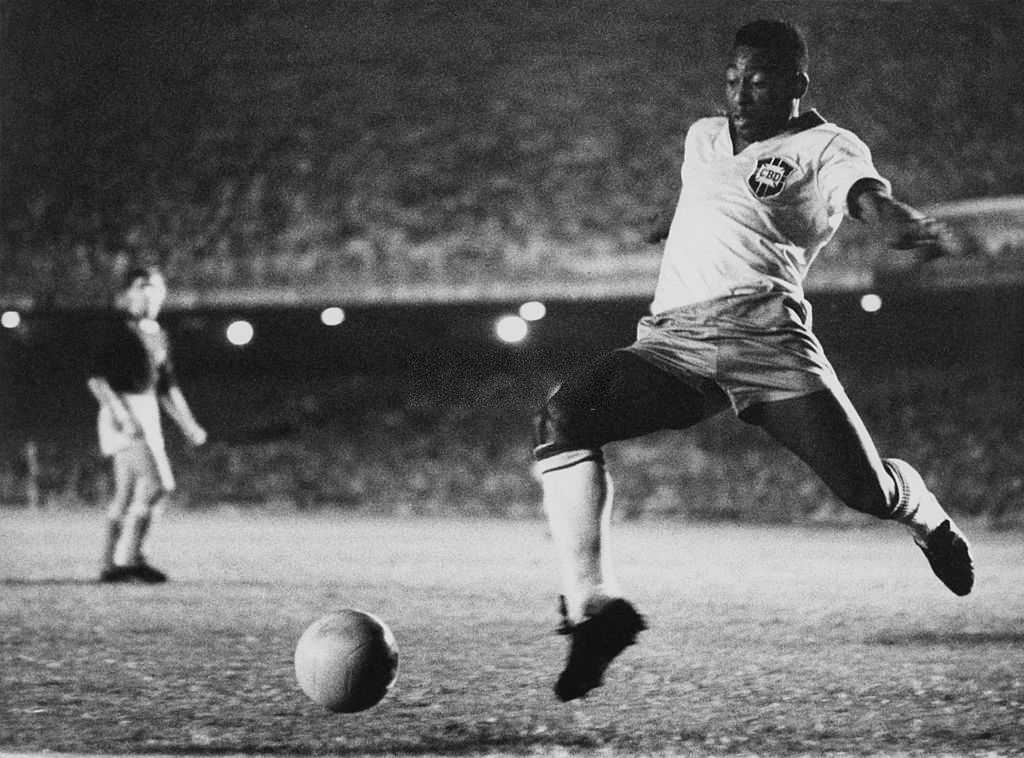 Brazilian footballer Pele playing for Brazil, circa 1958. (Photo by Pictorial Parade/Archive Photos/Getty Images)