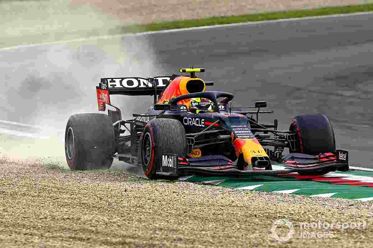 Sergio Perez of the Red Bull Racing went off the circuit during the Emilia Romagna Grand Prix on Sunday, April 18, 2021.