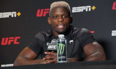 Phil Hawes meets with the press following his win over Kyle Daukaus during the UFC Fight Night Vegas 26 in May 08, 2021, at UFC Apex in Las Vegas, NV..