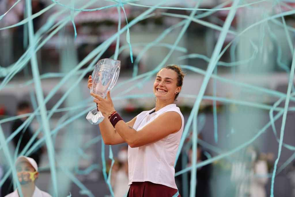 Aryna Sabalenka wins against Ashleigh Barty in the Mutua Madrid Open at La Caja Magica on May 08, 2021. (Photo by Clive Brunskill/Getty Images)