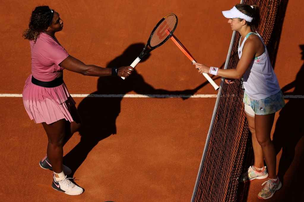 Serena Williams played the 1000th match of her career, which was against Nadia Podoroska at the 2021 Italian Open.