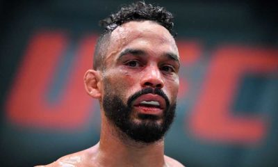 Rob Font reacts after defeating Cody Garbrandt in their bantamweight bout during the UFC Fight Night event at UFC APEX on May 22, 2021 in Las Vegas, Nevada.