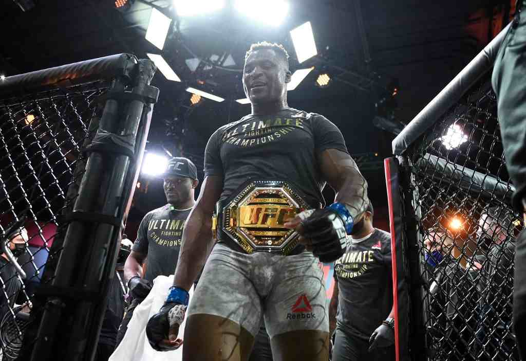 Francis Ngannou of Cameroon reacts after his victory over Stipe Miocic in their UFC heavyweight championship fight during the UFC 260 event at UFC APEX on March 27, 2021 in Las Vegas, Nevada.