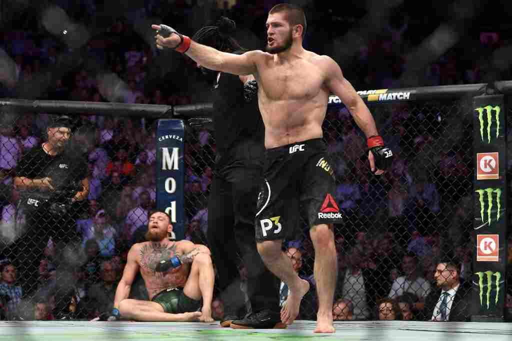 Khabib Nurmagomedov of Russia reacts after submitting Conor McGregor of Ireland in their UFC lightweight championship bout during the UFC 229 event inside T-Mobile Arena on October 6, 2018 in Las Vegas, Nevada.