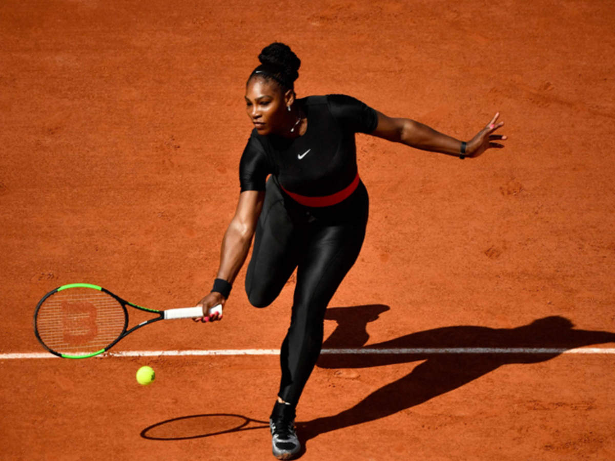 Serena Williams flaunts a catsuit during a US open match