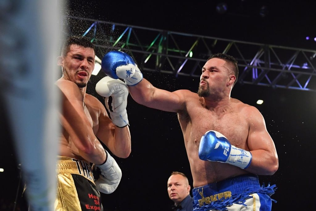 Joseph Parker punches Alexander Flores during the heavy weight bout.
