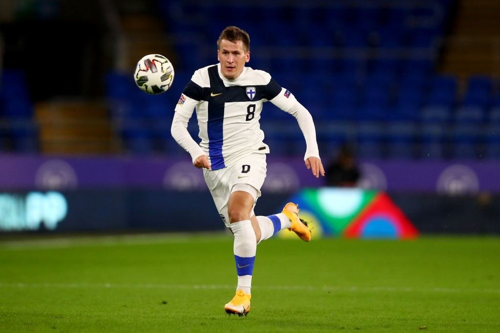 Robin Lod of Finland during the UEFA Nations League group stage match between Wales and Finland